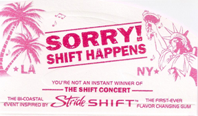 Shifts Happen Stride gum wrapper